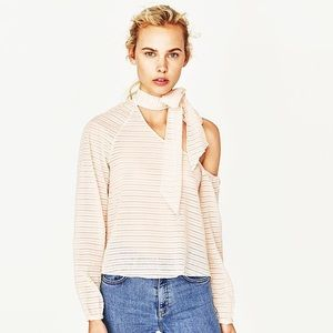 NEW Zara Asymmetrical Top With Neck Bow